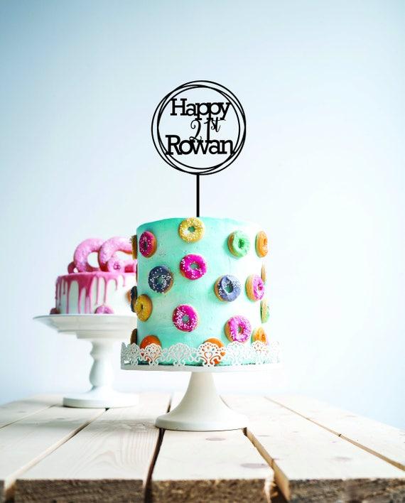 Personalised custom name 21 black happy birthday wood cake