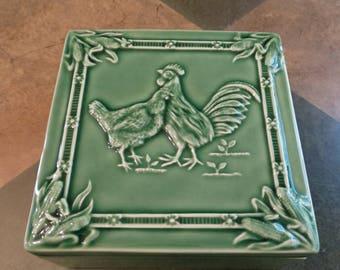 Bordallo Pinheiro Majolica Rooster Chicken Trinket Box