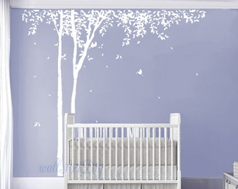 Tree wall decals Tree and birds wall mural White tree wall sticker Large tree wall decal White tree wall murals Nursery tree wall decals-39