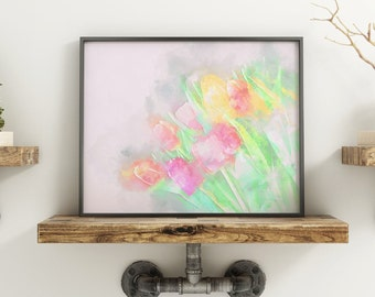 Pastel Tulips Art Print | Digital Watercolor Print | Abstract Tulip Photo |