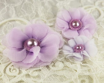 Millinery Collection: Dora purple - 3 pcs Sheer Fabric Flowers with Pearl Center