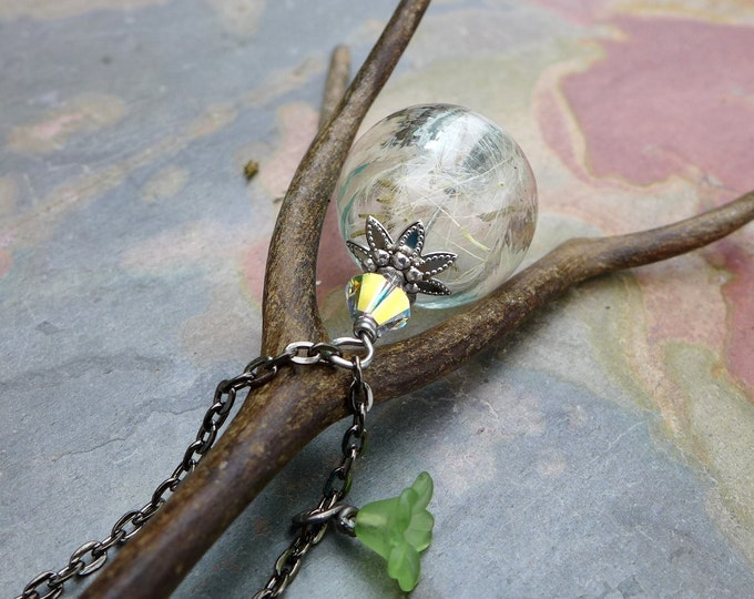 Dandelion Necklace, Real Dandelion Seed Flower Pearl  Necklace,Earrings - Make a Wish Gift, Birthday Gift, Wish Gift, Glass Jewelry