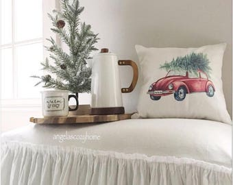 red beetle car with christmas tree decorative pillow cover, car with christmas tree, christmas decor, seasonal decor
