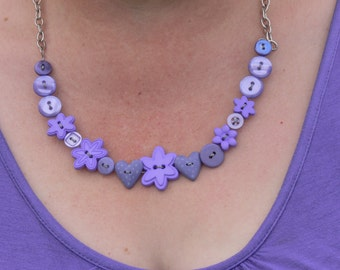 Button Lavender Necklet