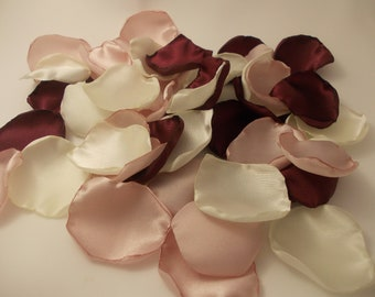 Burgundy Pink Blush Ivory Satin Rose Petals, Silk Wedding Flower Petals, Wedding Petals, Artificial Petals, Maroon Blush Fabric Petals