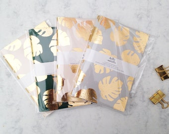 Gold Foil Cheese Plant A6 Notebook
