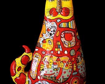 Ceramic Cat Sculpture | Clay Big Cat | Custom cat Sculpture | Big ceramic cat | Cat Memorial