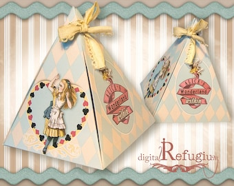 ausdruckbare Triangle Box Alice im Wunderland heart box,  INSTANT DOWNLOAD digital collage sheet