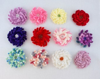 Crochet Brooches Set / 12 Flower Brooches / Crochet Jewelry/ Aster Floral Brooches/ Crochet Asters/ Mother's Day Gift/ Crochet Flower Brooch