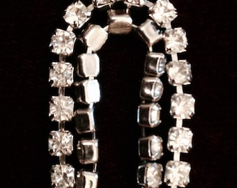 Simple rhinestone bracelet. Single strand. 1980's