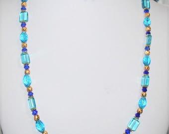 Blue Beaded Necklace, Blue Square Beaded Necklace, Blue Window Glass Necklace,  Blue and Gold Necklace,  Blue Earrings, Women's Jewelry,