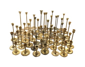 FREE SHIPPING LOT 50 Vintage Brass Candlestick Candleholders - Graduated Tarnished Candle Holders Wedding Decor - Mid Century Modern