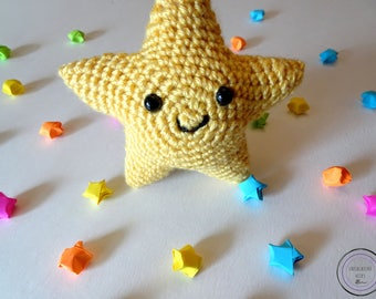 Yellow Star Cutie - Yellow Crochet Star Plushie - Cute Yellow Star Amigurumi - Cute Yellow Star Stuffie - Cute Yellow Star Stuffed Animal
