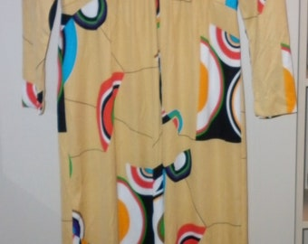 Vintage Leslie Fay 1970s Bright Maxi Dress Size 12 Very Good Condition