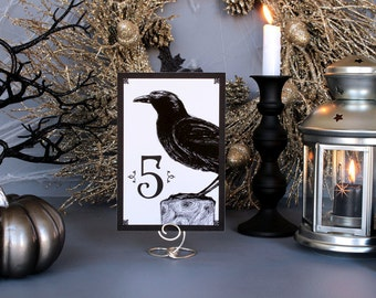 Halloween Crow Spooky Table Number Gothic Dark Black White Scary Fall Wedding Party