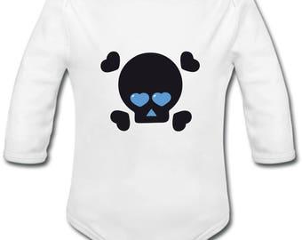 Custom skull blue hearts - possibility of name Bodysuit
