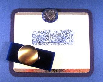 Waves Address Stamp Ocean Return Address Stamp Chiyogami Yuzen Tsunami Japanese Wave Rubber Stamp Self Inking or Stamp with Handle