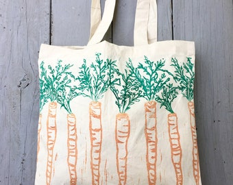 Tote bag, farmers market, carrots, reusable grocery bag, mothers day gift, gift for her, block print bag