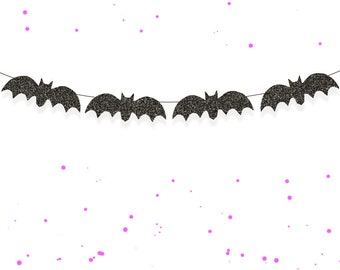 Glitter Bat Garland - Halloween Garland, Halloween Decorations, Halloween Bunting, Halloween Decor, Bat Banner, Glitter Halloween Banner