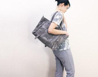 UN1 Gray Leather Tote: Work Bag / Laptop Bag / Leather Bag / Leather Purse / Diaper bag / Large Purse / Diaper bag.