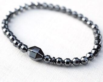 Mothers Day Gift Modern Minimal Bracelet Hexagon Magnetic Hematite Bracelet Men Tech Thin Natural Stone Bracelet Men Bracelet Birthday Gift