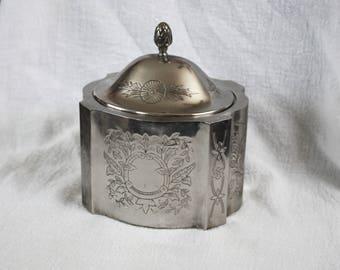 Vintage Silverplate Jewelry Vanity Box Red Velvet Lining