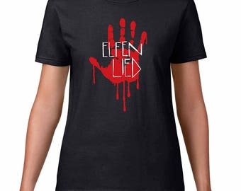 Elfen Lied logo and Lucy's bloody handprint womens T-shirt