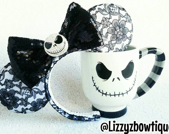 Jack Skellington Lace Minnie ears with Rhinestone Jack