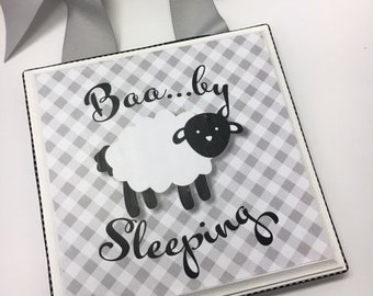 Baa....by Lamb Sleeping  Nursery Door Hanger- Gray Gingham
