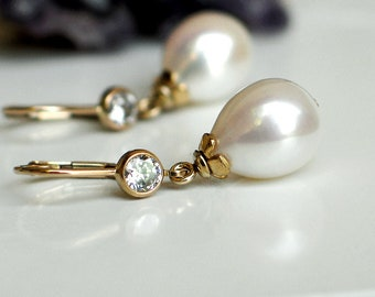 Teardrop Pearl Earrings | White Rose Freshwater Drop Pearl | CZ Bezel 14k Gold Filled Leverback Dangles | Mother's Day Gift | Ready to Ship