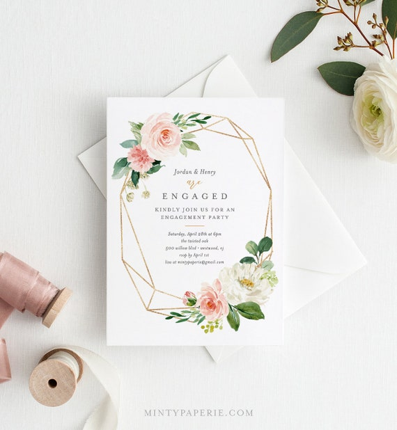 Editable Engagement Party Invitation, INSTANT DOWNLOAD, Self-Editing Template, Engaged Announcement, Blush, Peach & Gold Florals #043-116EP