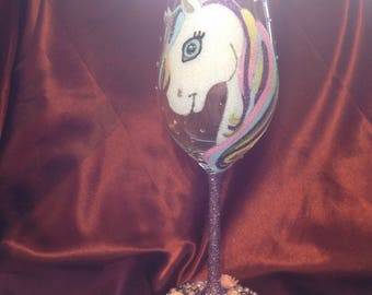 Unicorn Design Glitter Wine Glass
