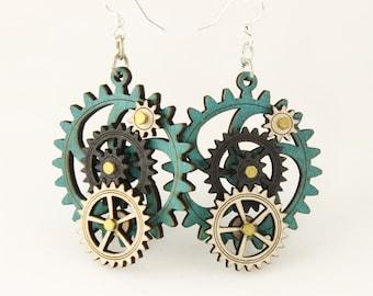 Kinetic Gear Earrings - Aqua color style - 5003E