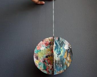 Original Small Colorful Painting Circular Hanging Paper Mixed Media Art Sculpture