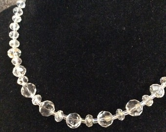 Handmade Crystal and Sterling Silver Choker, Upcycled