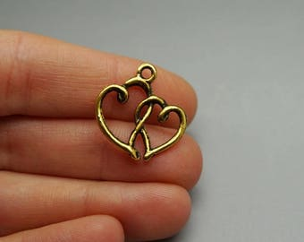SET of 3 double charm interlaced heart antique gold (S14)