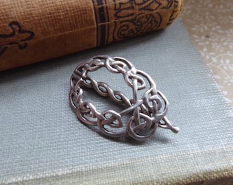Vintage Small Sterling Silver Celtic Art Nouveau Hair Clip Barette 1970s