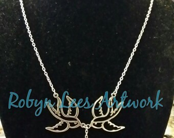 Vintage 50s Tattoo Style Silver Swallow Bird Necklace with Metallic Red Puffed Heart, Pin Up