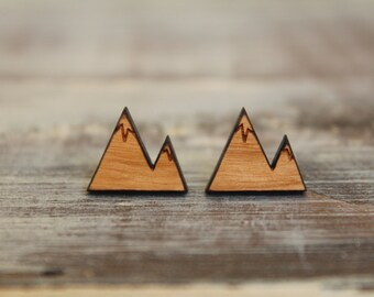 Mountain Studs, Laser Cut Wood Earrings, Available in Two Sizes