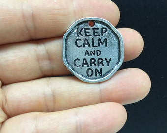 5ps Keep Calm And Carry On Rounded Octagon Tibetan Silver Pendant Charm 26x27mm