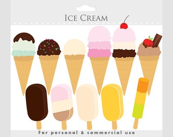 Ice cream clipart - ice cream cone clip art, digital clipart for scrapbooking, sweets, ice lolly, personal and commercial use