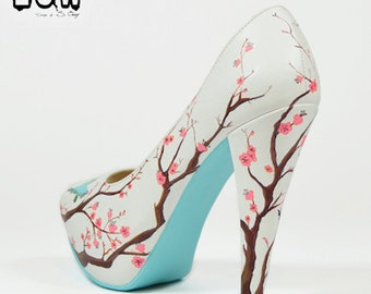 SAKURA - hand painted cherry, flowers, spring tree, birds shoes
