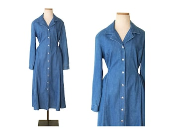 Vintage 80s FADS Long Sleeve Button up Front Denim Shirt Dress / Blue Jean Cotton Midi Shirtwaist Dress / 90s Button Down Maxi Womens 12