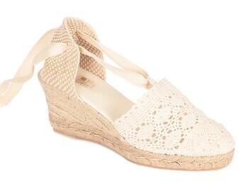 6 cm Valencian espadrilles - crochet - lace up
