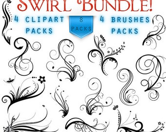 Swirls Clipart Digital Swirls Clip Art Vector Swirls Photoshop Brushes Digital Scrapbooking Wedding Invitations Flourish Floral Silhouette