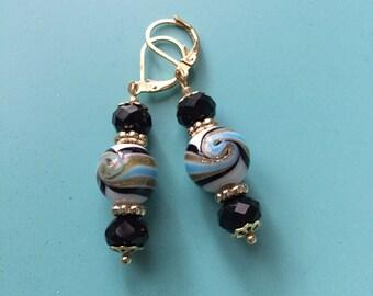 Turquoise Earrings / Black Earrings / Black Earrings / Boho Earrings / Statement Earrings / Bridesmaid Gift / Gold Earrings/ Dangle Earrings