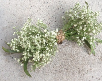 Clip-On Bowtie - Baby's Breath Bowtie - Baby's Breath, Customizable with Lavender & Greens