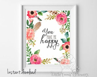 watercolor print inspirational quote printable quote decor flowers girl nursery decor Pink nursery decor quote art typography floral 42-46