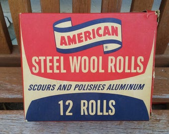 American Steel Wool Rolls Vintage mid century household cleaning supply Scour Polish retro advertising red white tan blue box