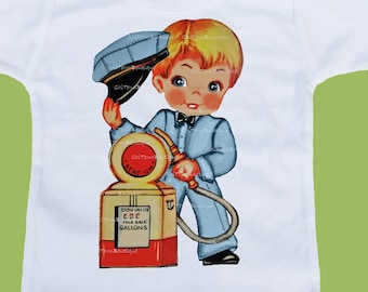 Vintage Gas Station, filling station, One Piece, Baby Bodysuit, Baby Boys Clothes, Baby Shower Gift, Boys T-Shirts, by ChiTownBoutique.etsy